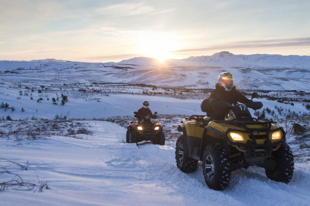 Helicopter and quad safari trip Iceland