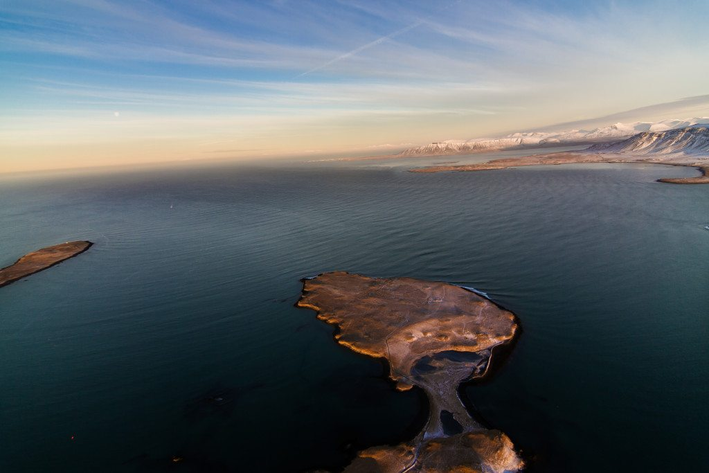 Islands and mountains around Reykjavik as seen by helicopter