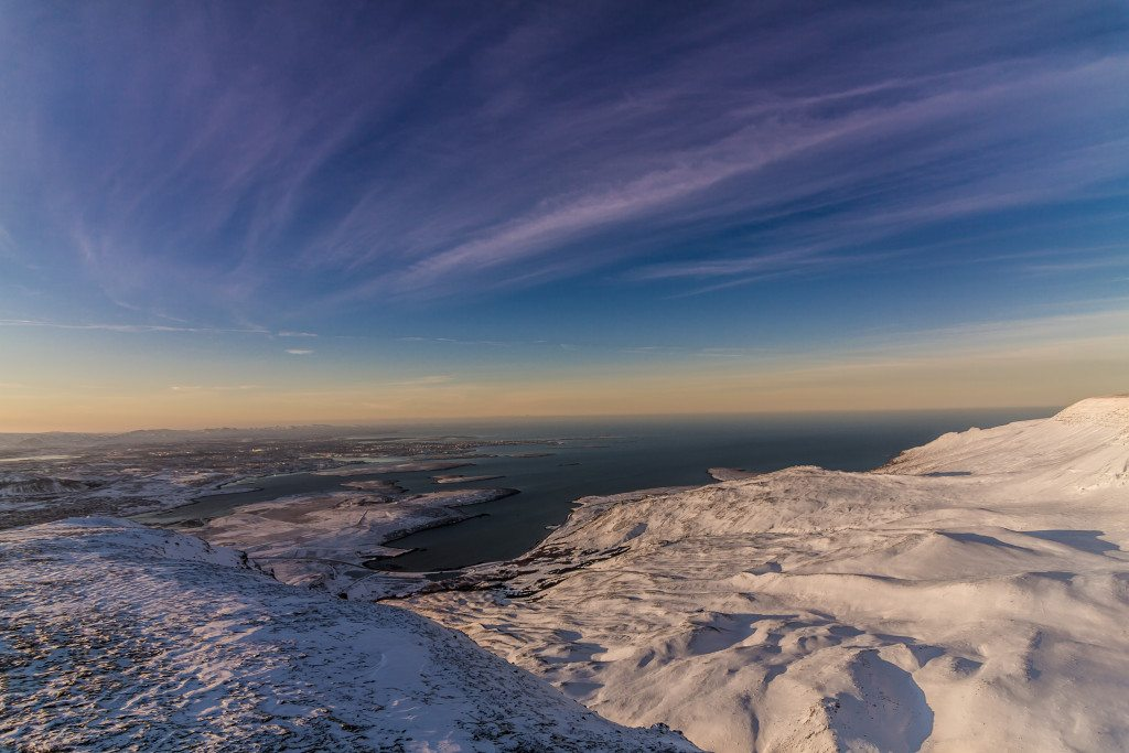 Reykjavik and its beautiful skies as seen from a nearby summit