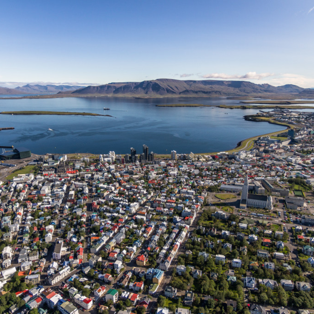 Reykjavik as seen by helicopter on the Reykjavik summit tour