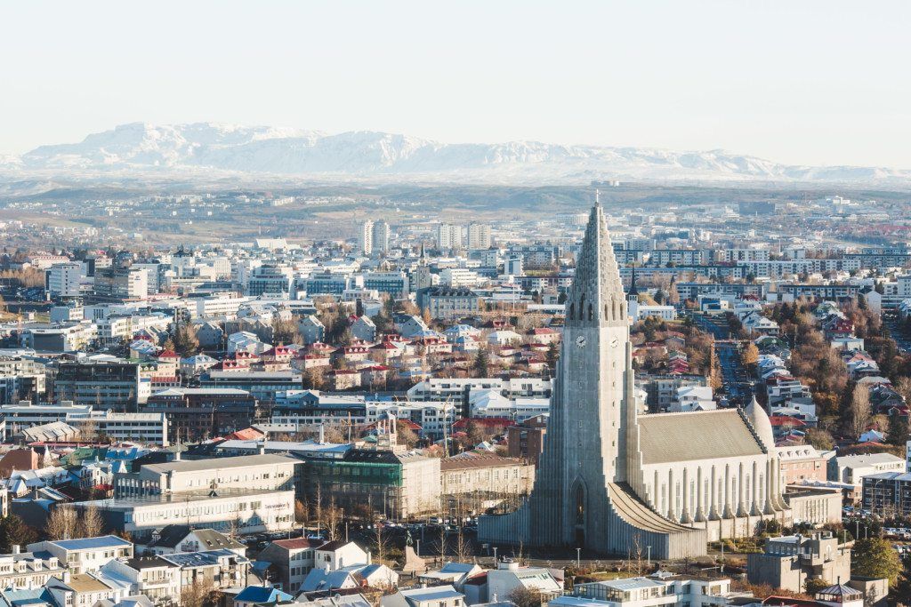 Reykjavik as seen from above by helicopter