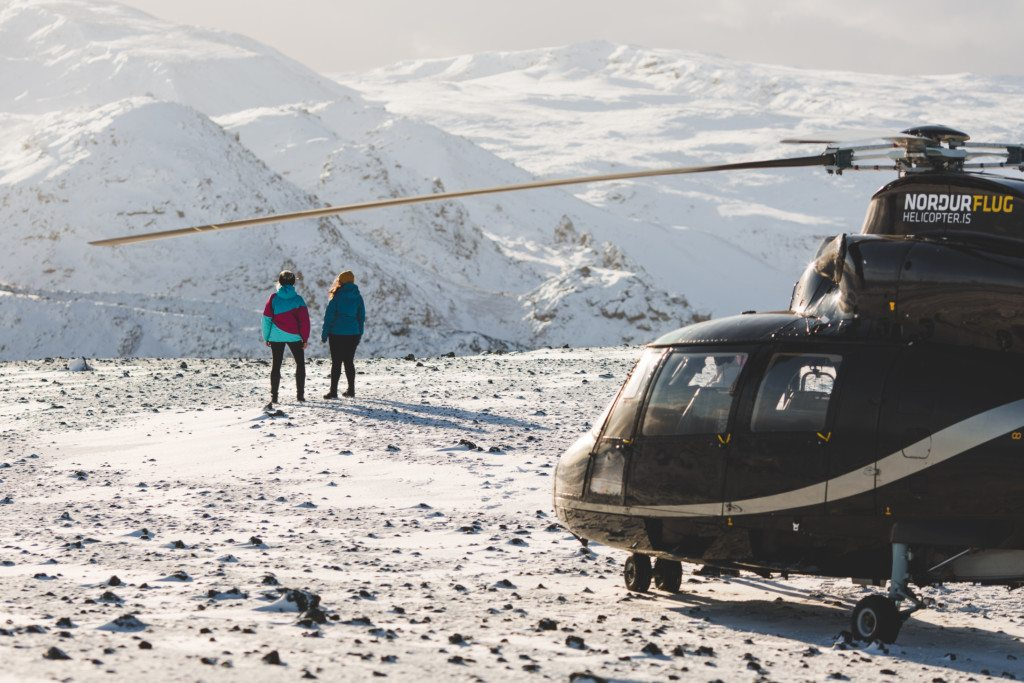 Helicopter on mountain summit