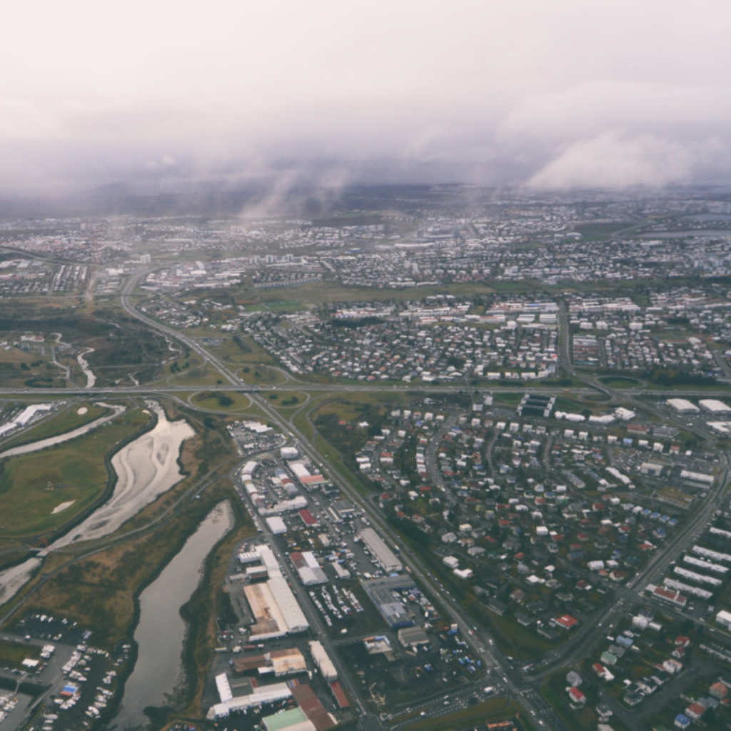 Greater Reykjavik as seen by helicopter