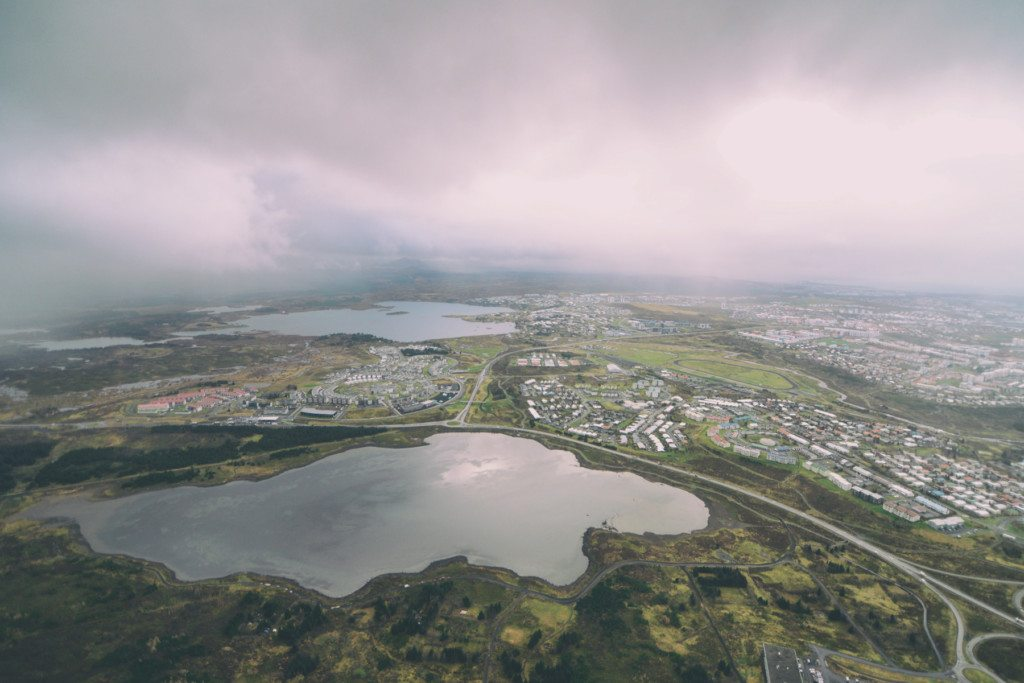 Reykjavik's surroundings as seen from above by helicopter.