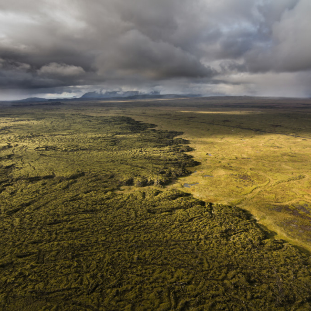 Stunning green plains as seen by helicopter on the Geothermal Tour