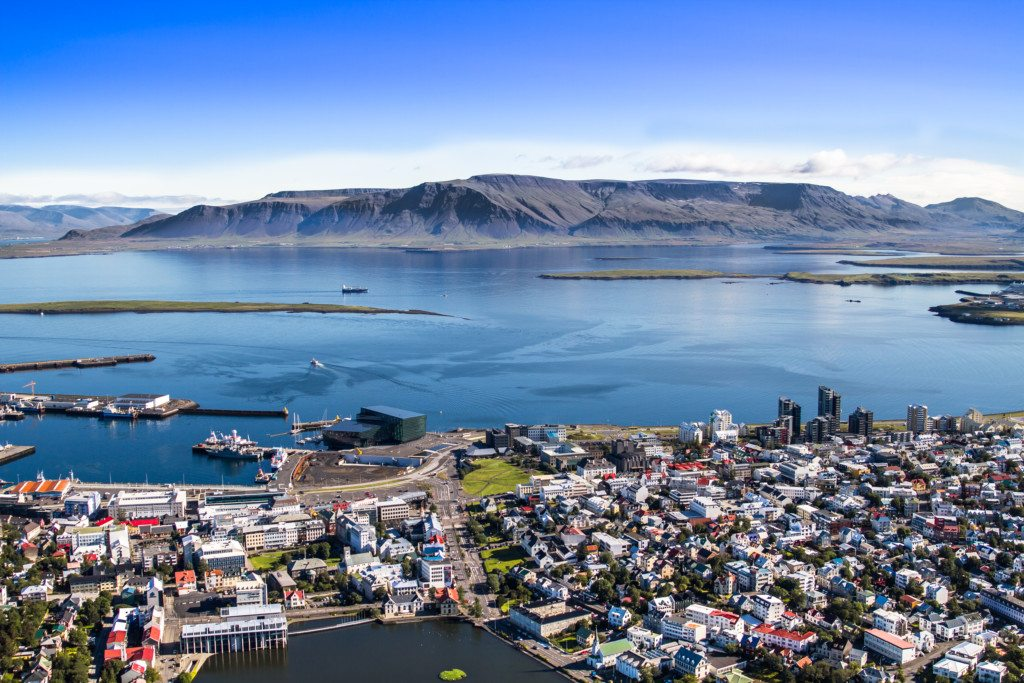 Reykjavik as seen from above on the Heli Happy Hour helicopter tour