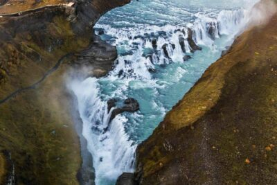 Helicopter tour to Gullfoss waterfall in Iceland