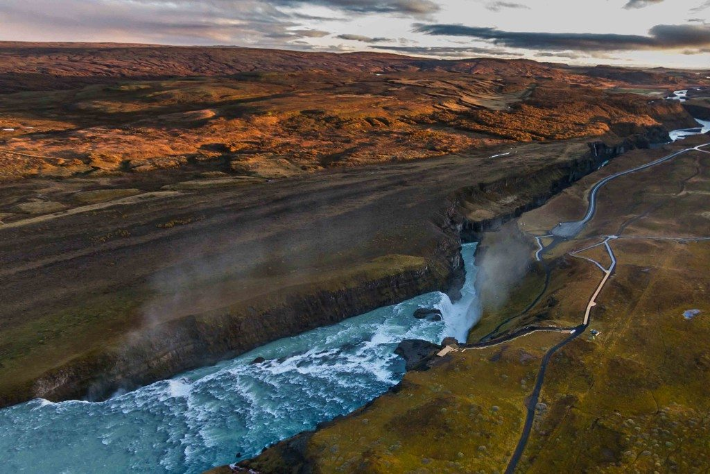 Helicopter tour to the Gullfoss waterfall in the Golden Circle