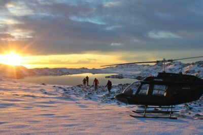 Helicopter tour to Kleifarvatn lake in Iceland