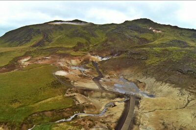 Helicopter tour to Seltún geothermal area in Iceland